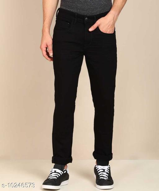 Sagvish Mens Black Plain Jeans