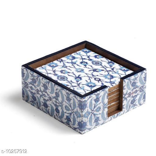 Blue Moroccan Design Enamel MDF Coasters With Case (Set of 6)