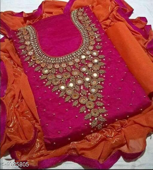 Pretty Chanderi Handworked Suit & Dress Material