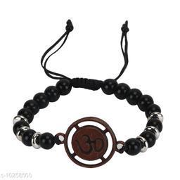Chocozone Fashion Genuine Leather Bracelet Wraps Casual Ohm Spiritual Bracelets for Men Boys