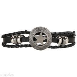 Chocozone Leather Bracelet for Boys Friendship Band Star Design Bracelets Casual Party Wear Mens Bracelet
