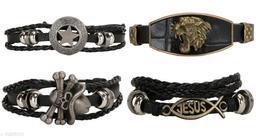 Chocozone Leather Bracelet for Boys Friendship Band Star, Jesus Bracelets Casual Mens Bracelet (Pack of 4)