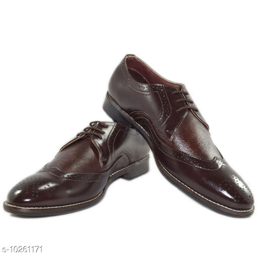 Formal Shoes URV Shoes|Brown stylish and comfortable official formal shoes|shoes for men formal|Latest model shoes  *Material* Syntethic Leather  *Sole Material* TPR  *Fastening & Back Detail* Lace-Up  *Pattern* Solid  *Multipack* 1  *Sizes*   *IND-8 (Foot Length Size* 25.7 cm, Foot Width Size  *Sizes Available* IND-8 *    Catalog Name: Relaxed Trendy Men Formal Shoes CatalogID_1859858 C67-SC1236 Code: 4241-10261171-