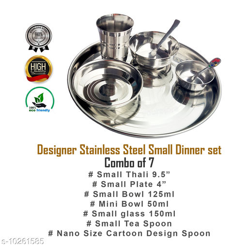 Diwan Sets JCYS Stainless Steel Kids Dinner Set of 7pcs  *Material* Stainless Steel  *Pack* Multipack  *Sizes Available* Free Size *    Catalog Name: Trendy Dinnerware Sets CatalogID_1859961 C117-SC1107 Code: 366-10261585-
