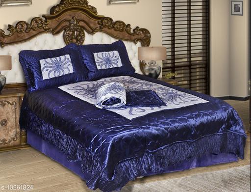 Jaxmom Luxury Satin Bedding Set (Set of 4 Pieces) 1 Bedsheet :: 2 Pillow Cover :: 1 AC Comforter (Blue)