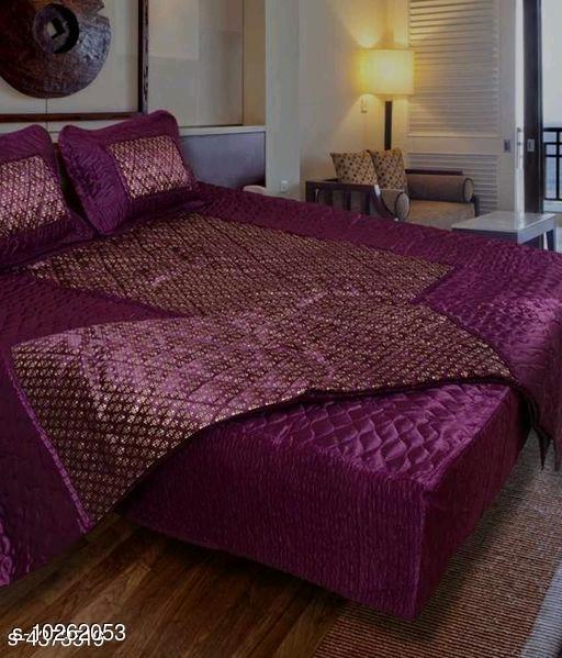 Jaxmom Luxury Satin Bedding Set (Set of 4 Pieces) 1 Bedsheet :: 2 Pillow Cover :: 1 AC Comforter (Purple)