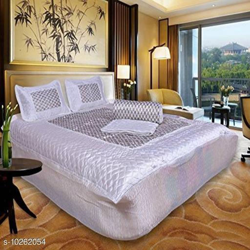 Jaxmom Luxury Satin Bedding Set (Set of 4 Pieces) 1 Bedsheet :: 2 Pillow Cover :: 1 AC Comforter (White)