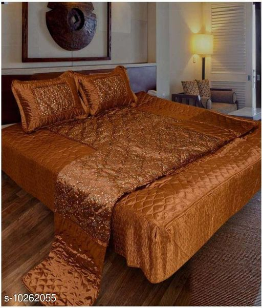 Jaxmom Luxury Satin Bedding Set (Set of 4 Pieces) 1 Bedsheet :: 2 Pillow Cover :: 1 AC Comforter (Tourquies)