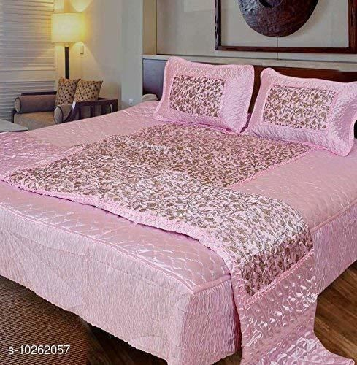 Jaxmom Luxury Satin Bedding Set (Set of 4 Pieces) 1 Bedsheet :: 2 Pillow Cover :: 1 AC Comforter (Pink)