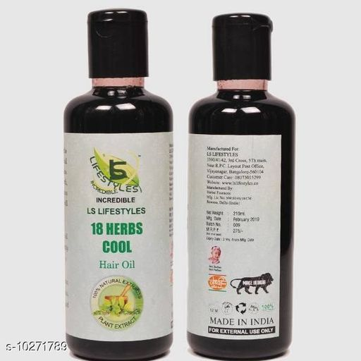 Herbal Products 18 Herbs Hair Oil  *Product Name* 18 Herbs Hair Oil  *Brand* Lifestyle  *Product Type* Hair Oil  *Capacity* 215 ml  *Multipack* Pack of 1  *Sizes Available* Free Size *    Catalog Name: Papaya Herbal gel Scrub CatalogID_1862677 C52-SC1311 Code: 043-10271789-