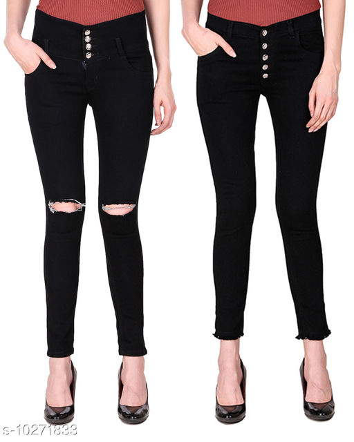Ansh Fashion Wear Presents Pack of 2 Latest Trendy Women Jeans - Black Four Buttton With Ripped Knee - Black Five Button With Clean Look