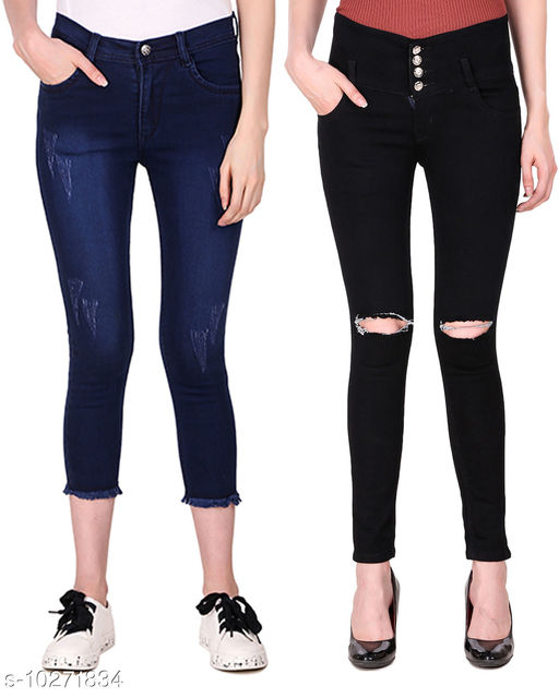 Ansh Fashion Wear Presents Pack of 2 Latest Trendy Women Jeans - Black Four Buttton With Ripped Knee - Blue Jeans With Fringe & Mild Distress