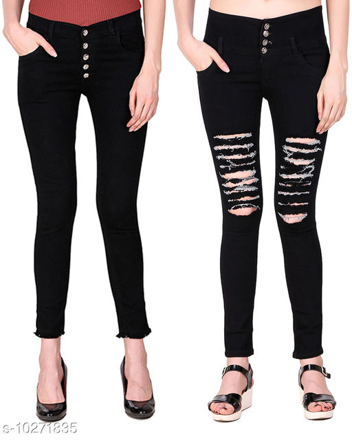 Ansh Fashion Wear Presents Pack of 2 Latest Trendy Women Jeans - Five Button With Clean Look And Four Button With Heavy Distress - Black Jeans