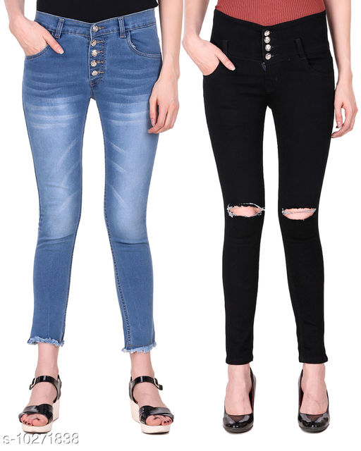 Ansh Fashion Wear Presents Pack of 2 Latest Trendy Women Jeans - Blue Five Button With Clean Look And Black Four Button With Ripped Knee Jeans