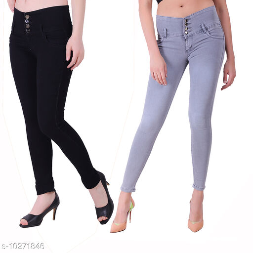Ansh Fashion Wear Presents Pack of 2 Latest Trendy Women Jeans - Four Buttton With Clean Look - Black & Grey Jeans