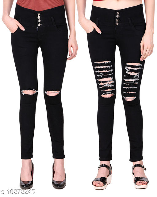 Ansh Fashion Wear Presents Pack of 2 Latest Trendy Women Jeans - Black Four Buttton With Ripped Knee - Black Four Button Mild Distress