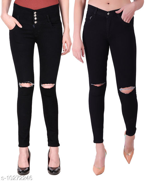 Ansh Fashion Wear Presents Pack of 2 Latest Trendy Women Jeans - Black Four Buttton With Ripped Knee - Black Jeans With Ripped Knee
