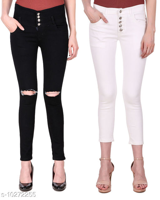 Ansh Fashion Wear Presents Pack of 2 Latest Trendy Women Jeans - Black Four Buttton With Ripped Knee - White Five Button With Clean Look