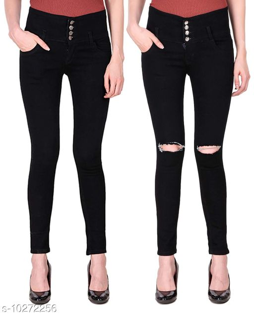 Ansh Fashion Wear Presents Pack of 2 Latest Trendy Women Jeans - Four Buttton With Clean Look - Four Button With Ripped Knee - Black Jeans