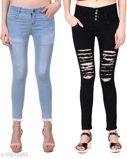 Ansh Fashion Wear Presents Pack of 2 Latest Trendy Women Jeans - Black Four Buttton With Mild Distress - Blue Jeans With Fringe