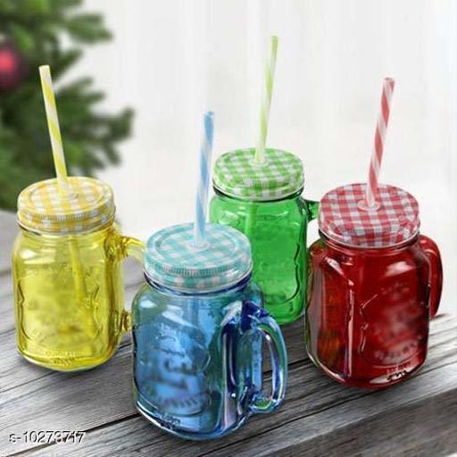 MASON JAR FOR JUICE/WATER/ICE -CREAM/SMOOTHY/BEVERAGE SET OF 4