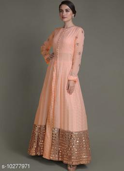 Designer Peach Jacket Lahenga With Mirror Abla Work Along With Weaving Work Skirts.