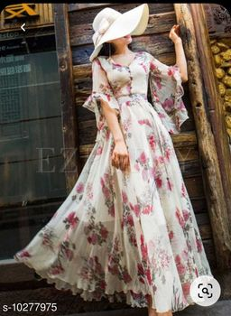 Innovative White Colored Party Wear Digital Floral Printed Georgette Gown