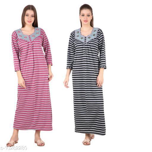 Natkhat Radha Winter Wear Woolen Hosiery Multi Color Long Nighty Pack Of 2