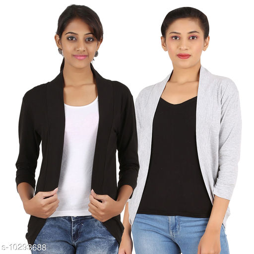 Shrugs New Stylish Women Cotton Shrug  *Fabric* Cotton Blend  *Sleeve Length* Three-Quarter Sleeves  *Pattern* Solid  *Multipack* 2  *Sizes*   *Sizes Available* L *    Catalog Name: New Stylish Women Cotton Shrug CatalogID_1868130 C70-SC1469 Code: 726-10293688-