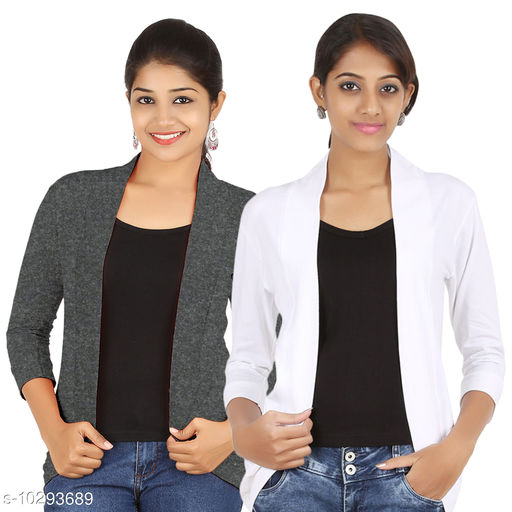 Shrugs New Stylish Women Cotton Shrug  *Fabric* Cotton Blend  *Sleeve Length* Three-Quarter Sleeves  *Pattern* Solid  *Multipack* 2  *Sizes*   *Sizes Available* L *    Catalog Name: New Stylish Women Cotton Shrug CatalogID_1868130 C70-SC1469 Code: 726-10293689-