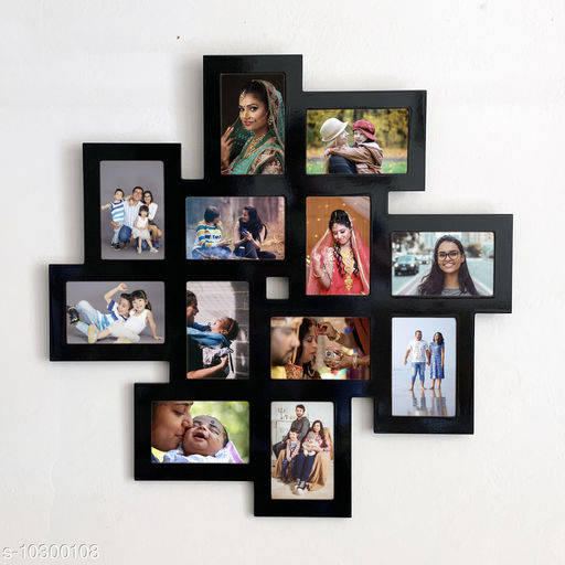 Picrazee Wooden 12 Pictures Wall Collage Photo Frame (Black, 24x24 inch)