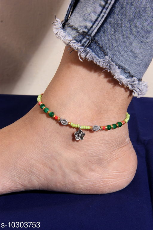 Anklets & Toe Rings Elite Graceful Women Anklets & Toe Rings Base Metal: Brass Plating: Silver Plated Stone Type: Artificial Beads Sizing: Adjustable Type: Thick Anklet Multipack: 4 Sizes: Country of Origin: India Sizes Available: Free Size *Proof of Safe Delivery! Click to know on Safety Standards of Delivery Partners- https://ltl.sh/y_nZrAV3   Catalog Name: Elite Fancy Women Anklets & Toe Rings CatalogID_1870575 C77-SC1098 Code: 731-10303753-