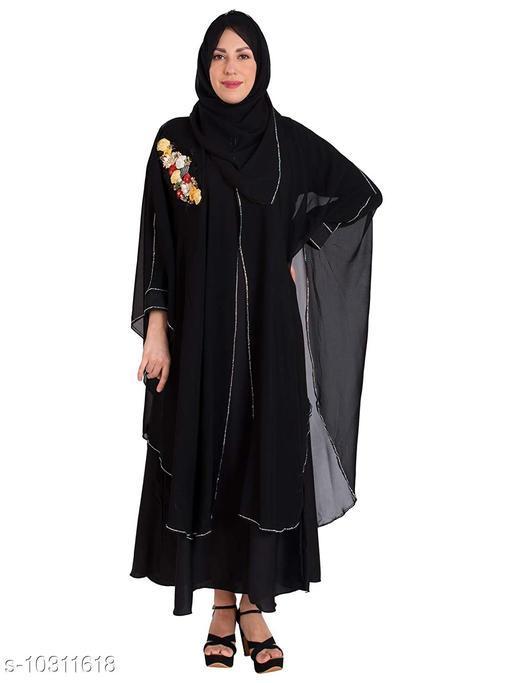 Abaya Binish Women's Abaya Burkha Floral Patch Farasha with Dupatta.  *Fabric* Poly Chiffon  *Sleeve Length* Long Sleeves  *Pattern* Self-Design  *Multipack* 1  *Sizes*   *Free Size (Bust Size* 44 in, Length Size  *Sizes Available* Free Size *    Catalog Name: Fabulous Women Abayas & Coats CatalogID_1872403 C74-SC1449 Code: 7971-10311618-