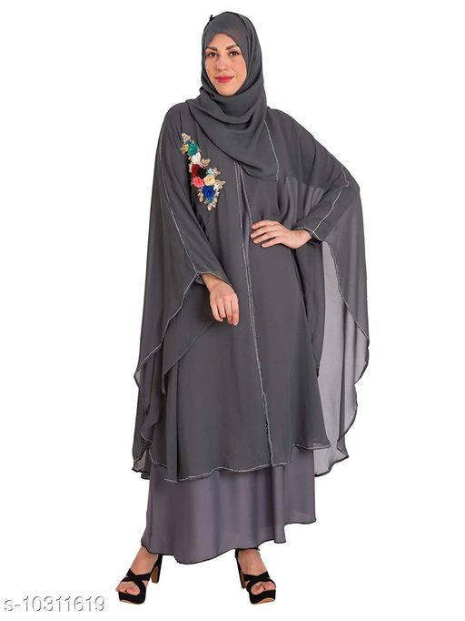 Abaya Binish Women's Abaya Burkha Floral Patch Farasha with Dupatta.  *Fabric* Poly Chiffon  *Sleeve Length* Long Sleeves  *Pattern* Self-Design  *Multipack* 1  *Sizes*   *Free Size (Bust Size* 44 in, Length Size  *Sizes Available* Free Size *    Catalog Name: Fabulous Women Abayas & Coats CatalogID_1872403 C74-SC1449 Code: 7971-10311619-