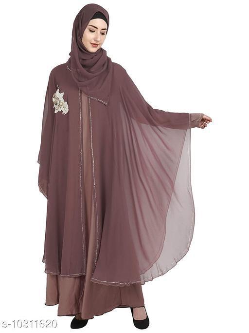 Abaya Binish Women's Abaya Burkha Floral Patch Farasha with Dupatta.  *Fabric* Poly Chiffon  *Sleeve Length* Long Sleeves  *Pattern* Self-Design  *Multipack* 1  *Sizes*   *Free Size (Bust Size* 44 in, Length Size  *Sizes Available* Free Size *    Catalog Name: Fabulous Women Abayas & Coats CatalogID_1872403 C74-SC1449 Code: 7971-10311620-