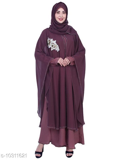 Abaya Binish Women's Abaya Burkha Floral Patch Farasha with Dupatta.  *Fabric* Poly Crepe  *Sleeve Length* Long Sleeves  *Pattern* Self-Design  *Multipack* 1  *Sizes*   *Free Size (Bust Size* 44 in, Length Size  *Sizes Available* Free Size *    Catalog Name: Fabulous Women Abayas & Coats CatalogID_1872403 C74-SC1449 Code: 7971-10311621-