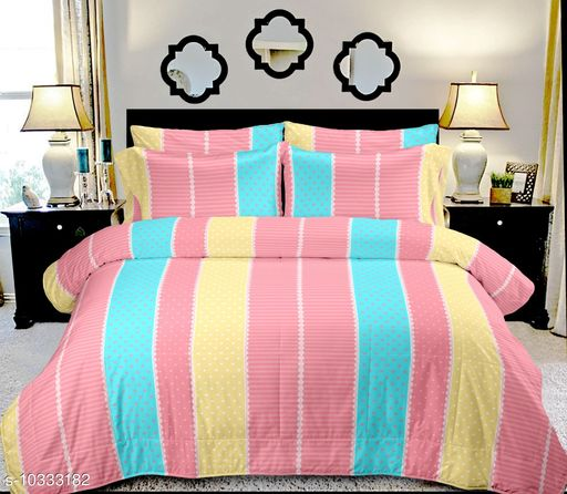 """Jinaya's 200 TC Cotton Double Printed Bedsheet 90""""x100"""" With pillow Covers"""