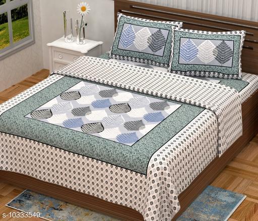 Trending jaipuri Printed Pure Coton 100x90 Double Bedsheets
