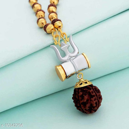 Mahadev silver and gold platedTrishul Rudraksha Pendant