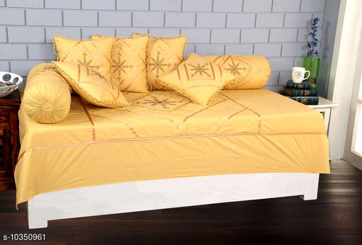 Diwan Sets Dream Home Décor  8 Piece Embroidery Design (Yellow Colour)Cotton Diwan Set with 1 Bedsheet 5 Cushion Covers and 2 Bolster Covers for Living Room   *Bedsheet Fabric* Cotton  *Bolster Cover Fabric* Cotton  *Cushion Cover Fabric* Cotton  *No. of Bedsheets* 1  *No. of Bolster Covers* 2  *No. of Cushion Covers* 5  *Thread Count* 150  *Print or Pattern Type* Solid  *Multipack* 1  *Sizes*   *Free Size (Bedsheet Length Size* 100 in, Bedsheet Width Size  *Sizes Available* Free Size *    Catalog Name: Classic Versatile Diwan Sets CatalogID_1881305 C117-SC1107 Code: 599-10350961-