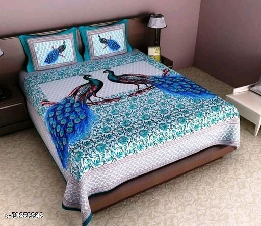 Cotton Printed 90x100 Double Bed sheet with 2 pillow cover