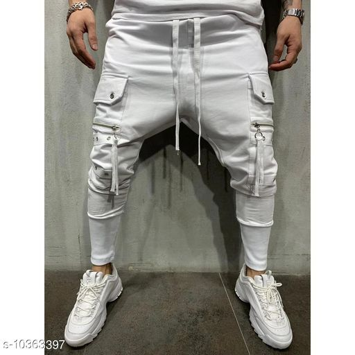 FLYNOFF White Solid Ankle Length Slim Fit Men's Track Pant