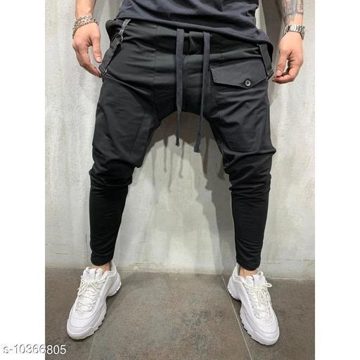 FLYNOFF Black Solid Ankle Length Slim Fit Men's Track Pant