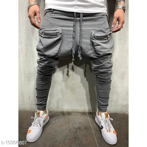 FLYNOFF Grey Solid Ankle Length Slim Fit Men's Track Pant