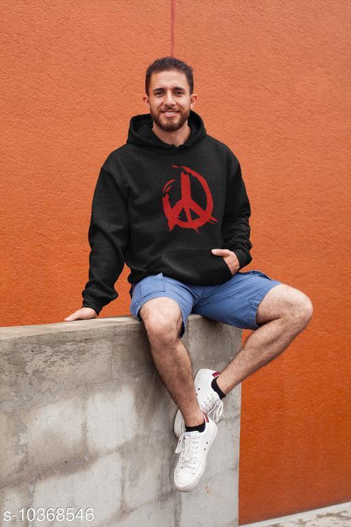 Men Top Wear Active Printed Woolen Hoodie Jacket