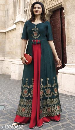 Women's Colorblocked Rayon Long Anarkali Kurti