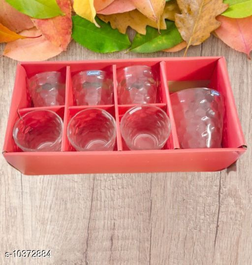 Bar, Glassware & Drinkware Glassware and Drinkware  *Material* Glass  *Pack* Multipack  *Sizes Available* Free Size *    Catalog Name: Designer Water & Juice Glasses CatalogID_1886695 C136-SC1130 Code: 565-10372884-