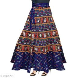 Women Cotton Casual Blue Long Wrap Around Skirt
