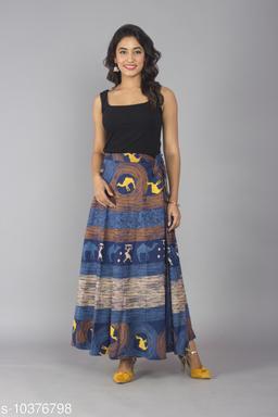 Women Cotton Casual Aqua Blue Long Wrap Around Skirt