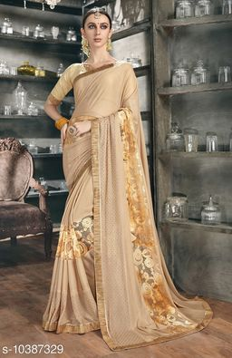 Vallabhi Prints Beige Color Synthetic Embellished Party Wear Saree With Blouse Piece
